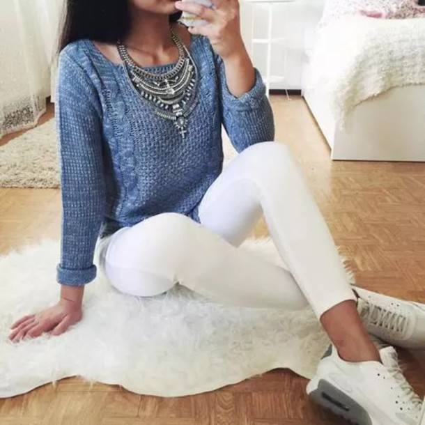 920d60ea5942 Sweater blue sweater knitted sweater sneakers white tumblr cute necklace  top cool .