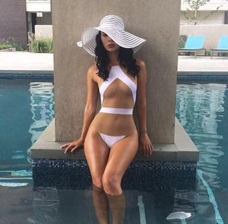 swimwear nude bikini white mesh cut-out one piece swimsuit one piece dope swimwear white swimwear hat sun hat see through