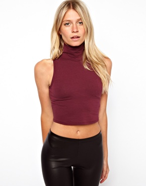 ASOS | ASOS Crop Top with Polo Neck at ASOS