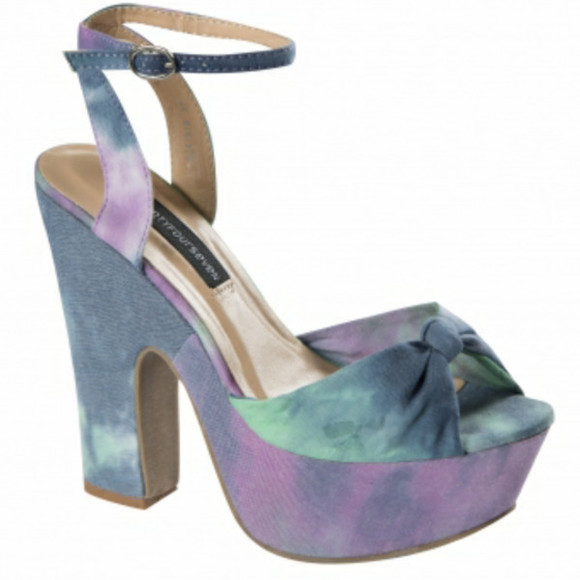 bow shoes galaxy purple green blue high heels