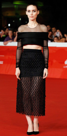 rooney mara skirt top crop tops