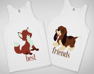 shirt fox hound fox and the hound the fox and the hound bff best friend shirts top white disney tank top