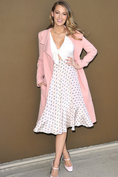 Dress: midi dress, blake lively, pumps, coat, duster coat, pink ...