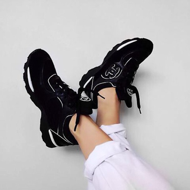 shoes chanel black sneakers