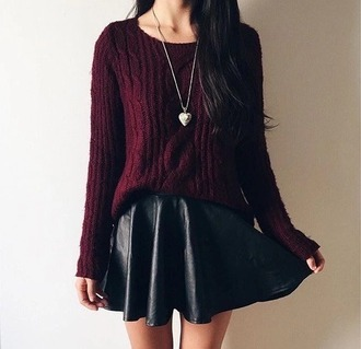 skirt black leather sweater red