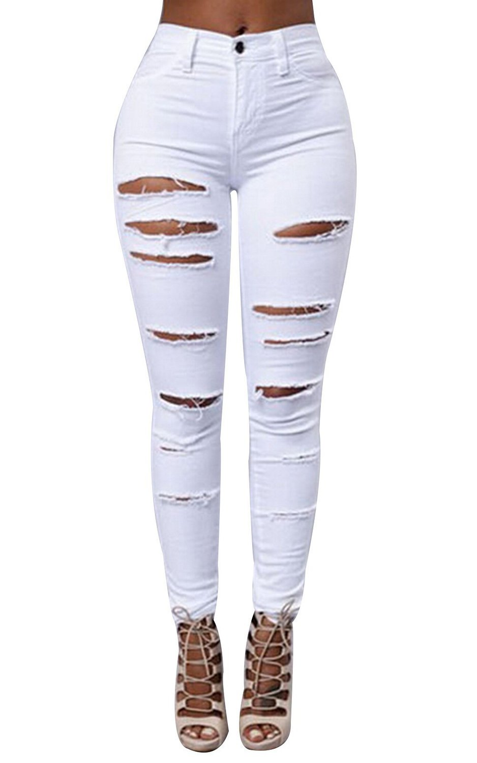 Ripped Knee Sexy Skinny Jeans Womens High Waisted Jegging at ...