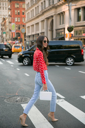 shirt,tumblr,red shirt,polka dots,denim,jeans,blue jeans,pumps,pointed toe pumps,high heel pumps,bag,shoes
