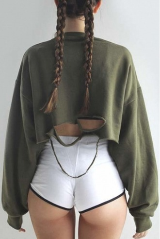 sweater crop tops cropped crop olive green khaki cropped sweater ripped tumblr shorts
