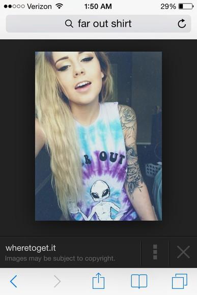tie dye hipster t-shirt far out alien cute girl blouse