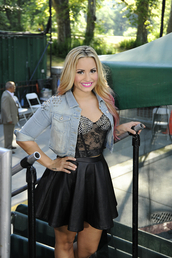 shirt,bustier,demi lovato,studs,lace,see through,rhinestones,crop tops,jacket,skirt,demi lovato skirt,lether,high waisted,high waist skirt,high waisted skirt,tank top,top