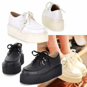 Fashion Women's Round Toe Synthetic Leather High Platform Shoe Retro Flat Shoes