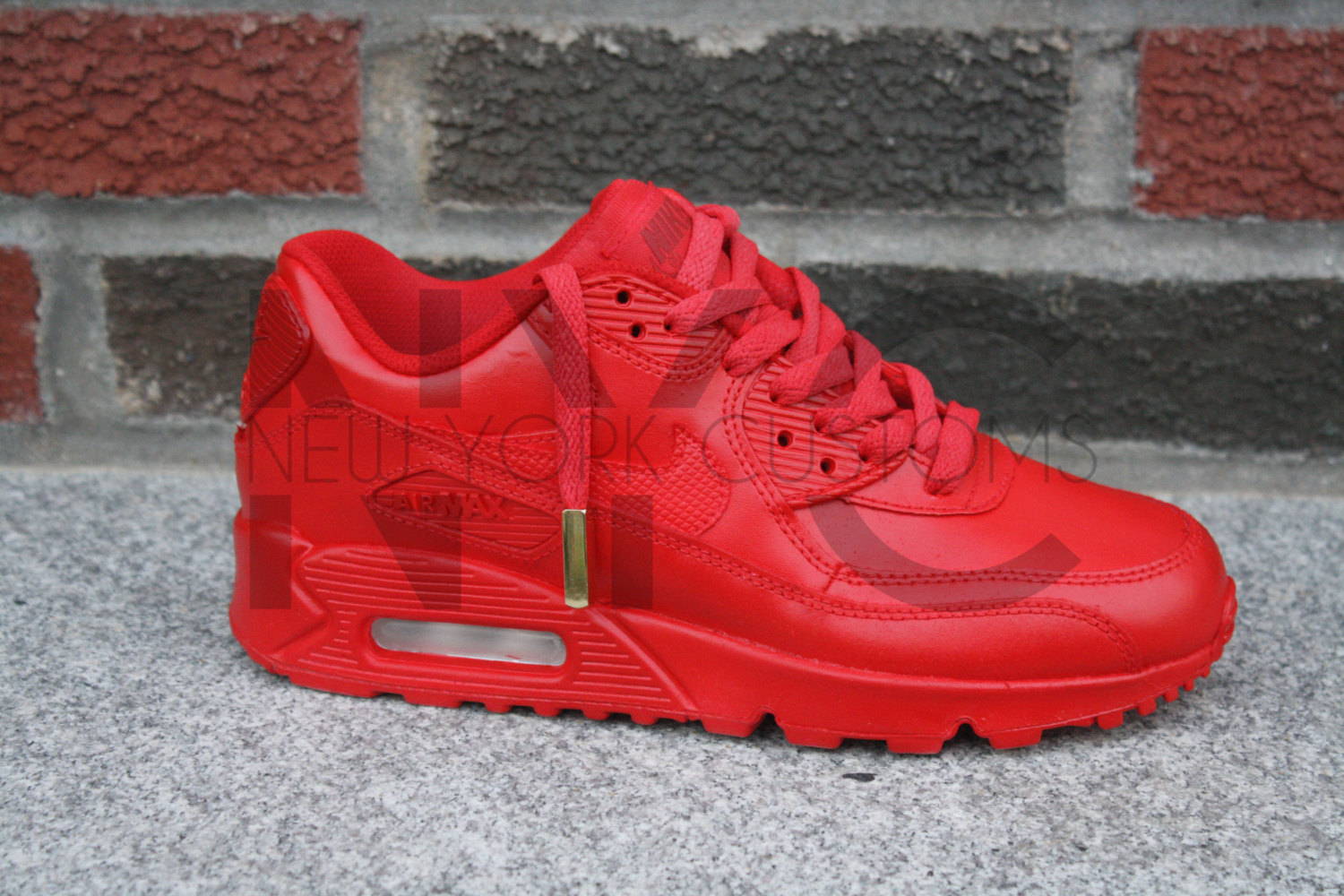 newest afd08 612fc Nike Air Max 90 Red October Yeezy w  Gold Aglets Men   Women ...