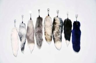 jewels foxtail fur keychain