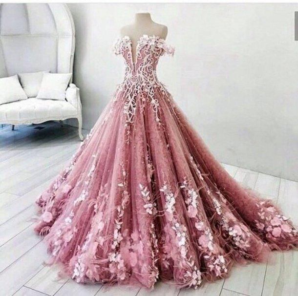 dress weedingdress weeding pink beautiful fashion long dress elegant blush rose petas lace white floor length light pink