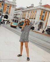 shoes,slide shoes,black slides,sunglassesd,sunglasses,dress,short dress,black and hwite