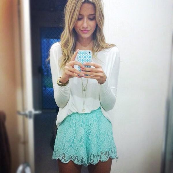 shorts blue lace shorts