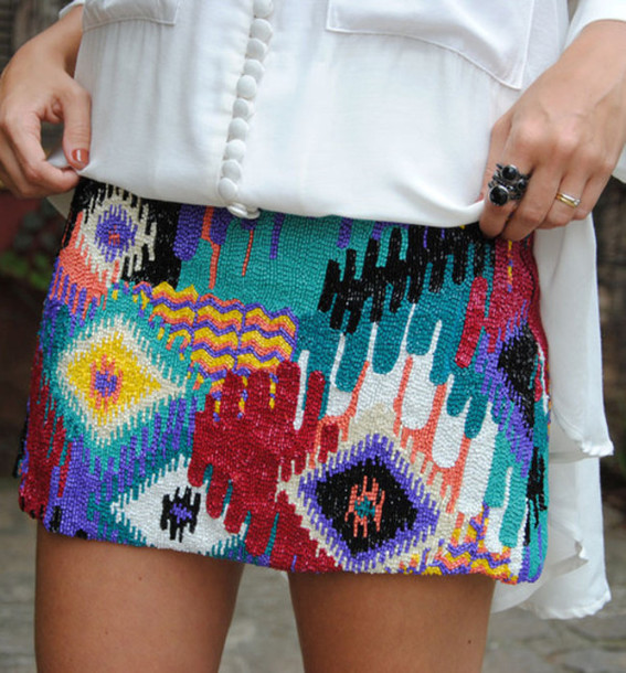 skirt aztec beaded tumblr tribal pattern