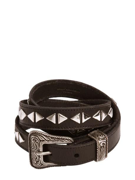 Saint Laurent studded belt leather black