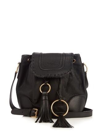 cross bag bucket bag leather black