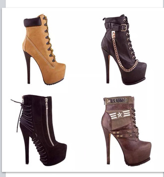 shoes ankle boots heel high heels high heels boots timberland black chain zip brown sexy
