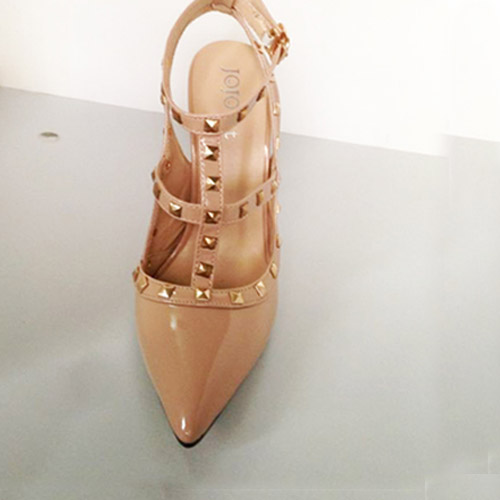 Cheap Women Sandals Super High Apricot Patent Leather Sandals