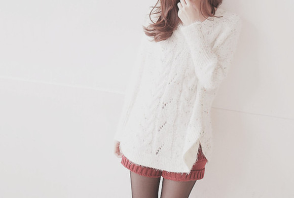 red red shorts shorts sweater white sweater shorts oversized sweaters oversized sweater kawaii cute