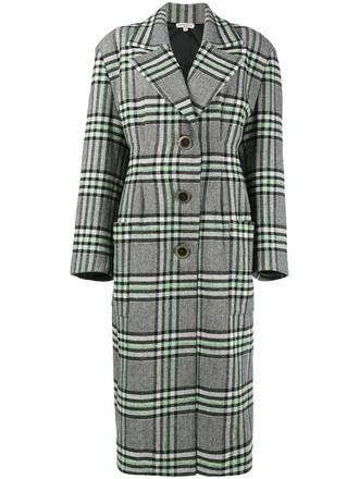 coat women silk wool green