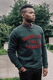 sweater,brooklyn,french,green,brooklyn we go hard,mens sweater,quote on it,forest green,hipster menswear