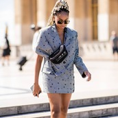 sunglasses,skirt,blazer,bag,grey suit