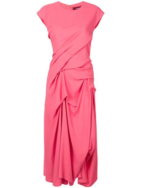 dress midi dress women midi silk wool purple pink