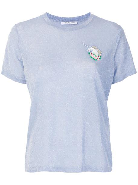 VIVETTA t-shirt shirt t-shirt unicorn women spandex blue top