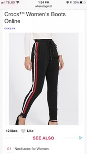 pants,black and red,joggers