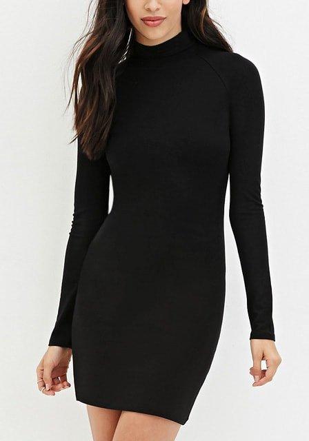 Black Mock Neck Bodycon Fleece Dress