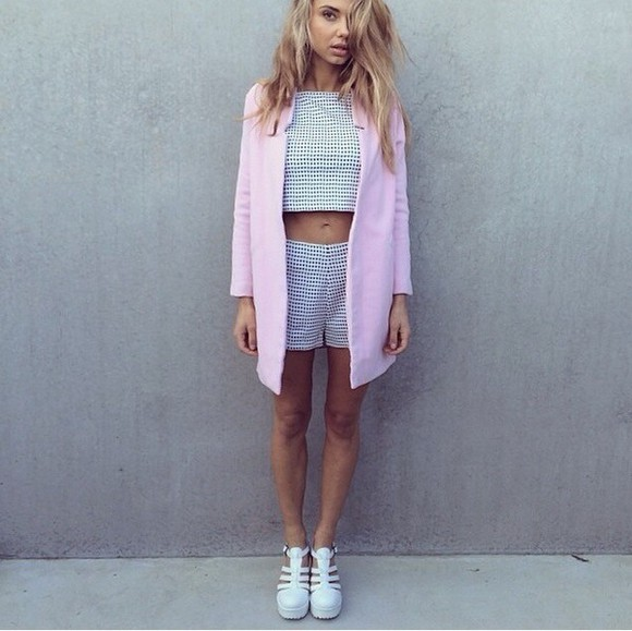 cardigan blazer checkered matching shorts and top coat cute pink pants summer outfits
