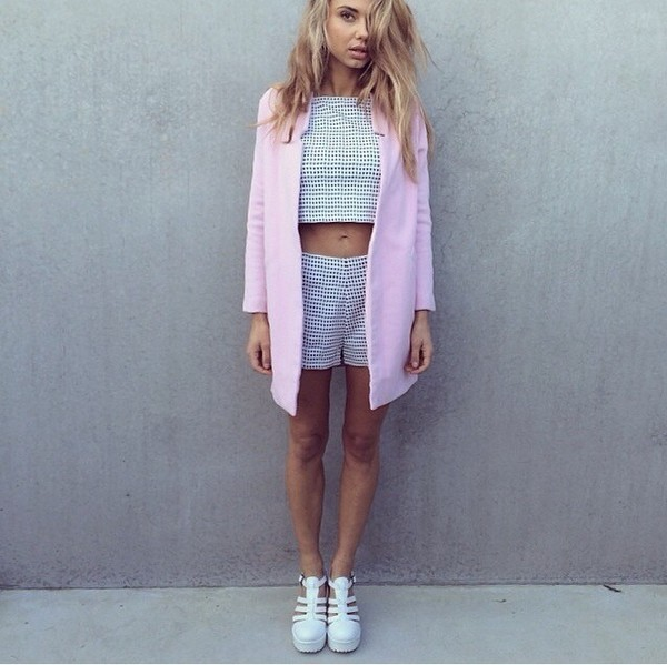 coat cute pink shirt shoes jumpsuit top jacket heels cardigan blazer checkered matching shorts and top pants summer outfits nude girly fashion baby pink fall outfits fall outfits check black and white fall outfits co-ordinaries duster pink coat rose white shoes fashion inspo fashion inspo on point clothing style blogger two-piece