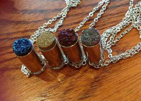 druzy bullet necklace vintage style silver grunge — thevintagerack