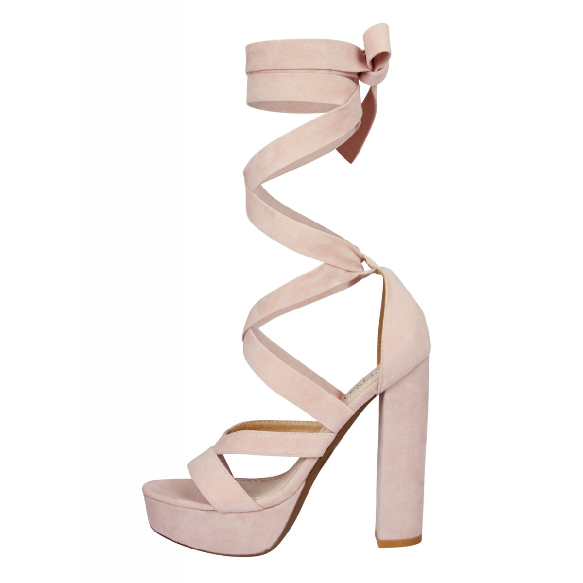 Amelia Nude Suede Lace Up Platform Heels : Simmi Shoes