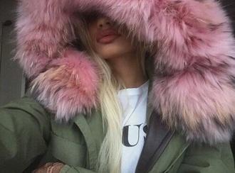 jacket pia mia perez green coat fur hood
