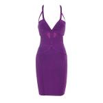 Clothing : bandage dresses :'salma' purple deep v mesh and bandage dress