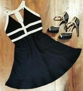 shoes,high heels,heels,black,pumps,dress,black dress,white,white dress,gold,embellished,black and white dress