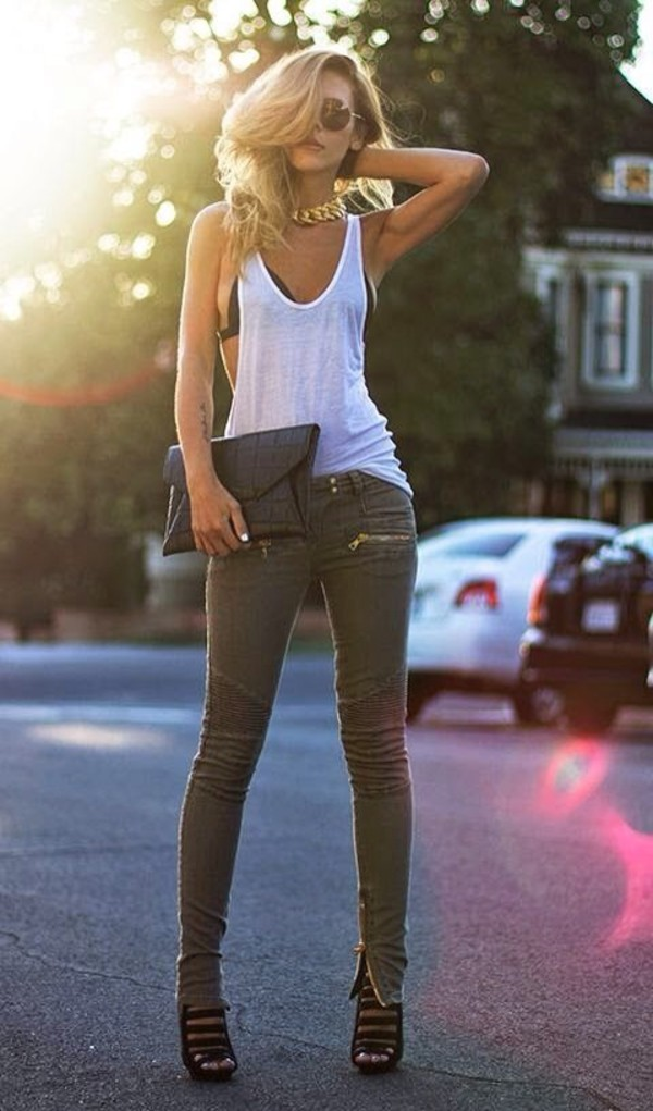 top plain white top jeans