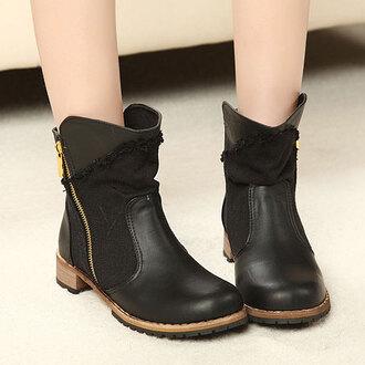 shoes boot roman retro zip