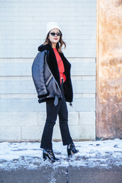 chicityfashion,blogger,coat,hat,scarf,sweater,jeans,shoes,sunglasses