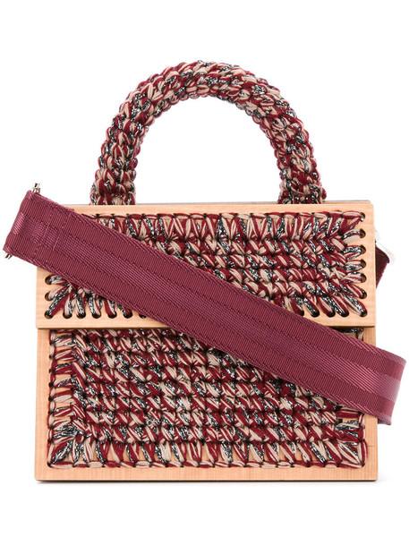 metallic women red bag