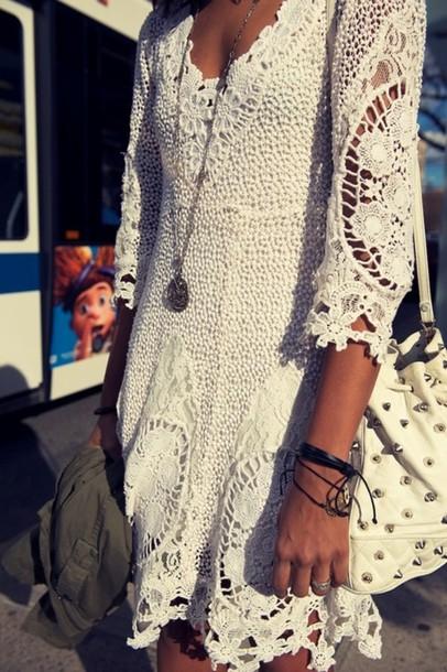 dress boho boho dress white necklace white lace dress lace dress lace half sleeves white dress crochet dress flowers white flowers white lace dress for festival fashion style mini dress perfecto crochet