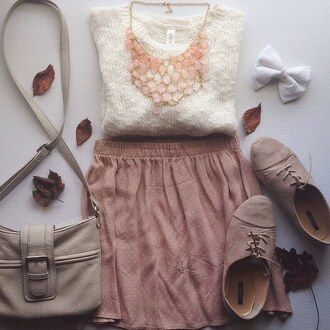 skirt sweater jewels bows shoes