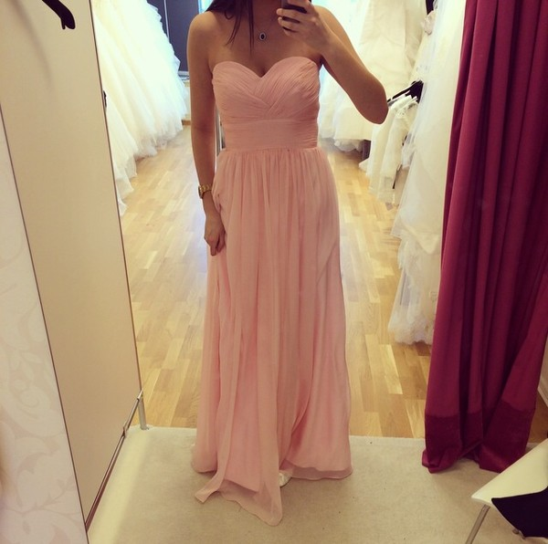 dress prom 2014 tumblr weheartit bridesmaid formal party sexy princess light pink cute hot pink