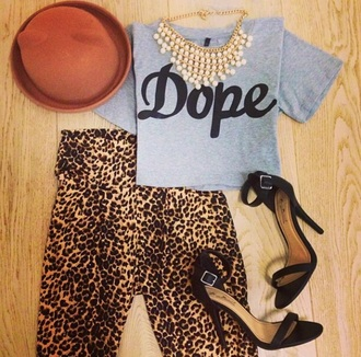 top shirt dope animal print print leopard print pants hat jewelry t-shirt streetwear leggings jewels clothes style