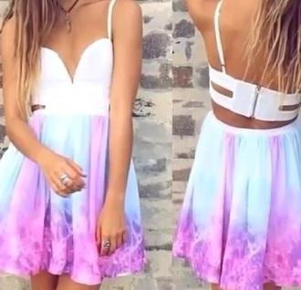 dress purple dress blue dress white top style