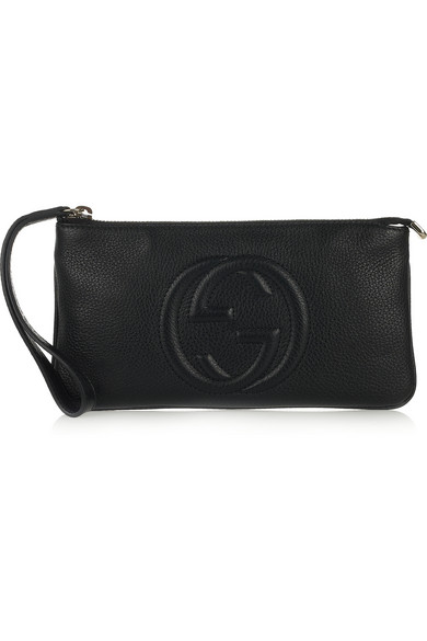 Gucci | Soho textured-leather wristlet pouch | NET-A-PORTER.COM